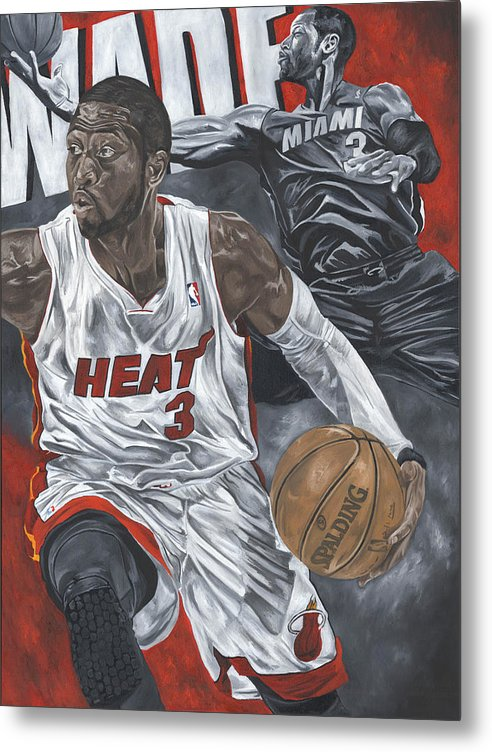 Dwyane Wade Painting Metal Print featuring the painting Dwyane Wade by David Courson