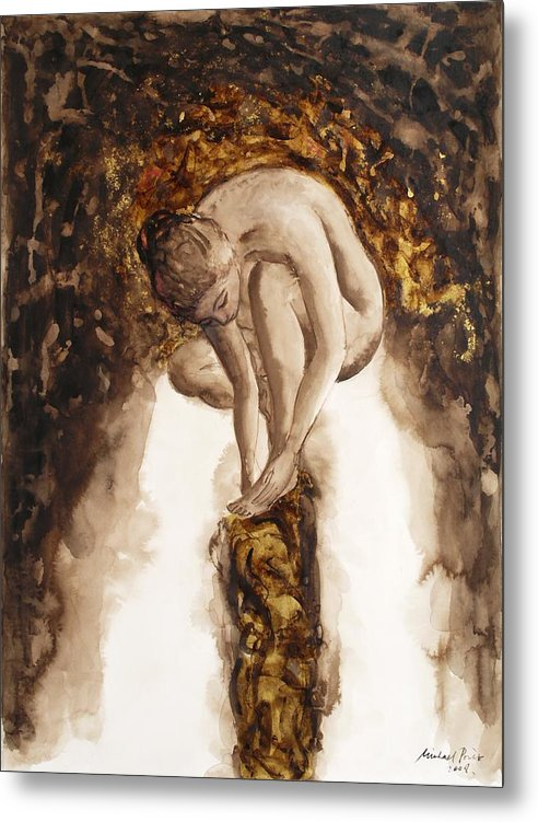 Nude Metal Print featuring the painting Golden Column by Michael Price
