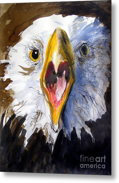 Wildlife Metal Print featuring the painting Screaming Eagle 2004 by Paul Miller
