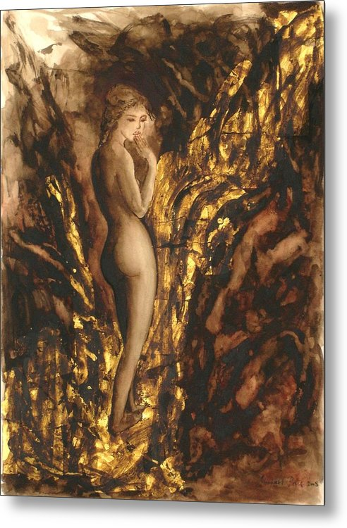Nude Metal Print featuring the painting The Muse by Michael Price