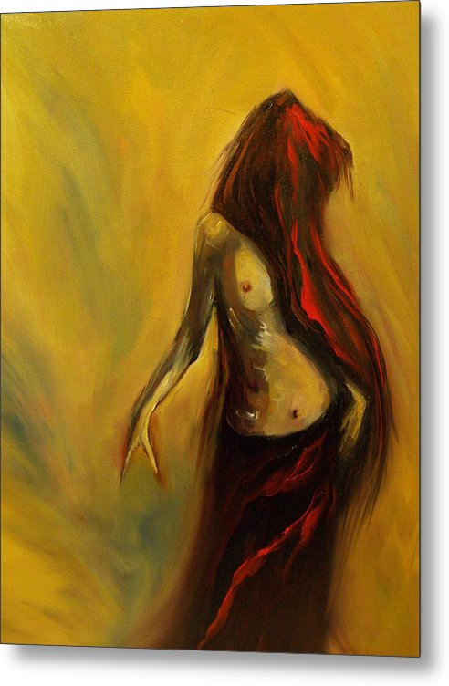 Semi Nude Woman Hair Yellow Metal Print featuring the painting Tu Solo Tu by Niki Sands