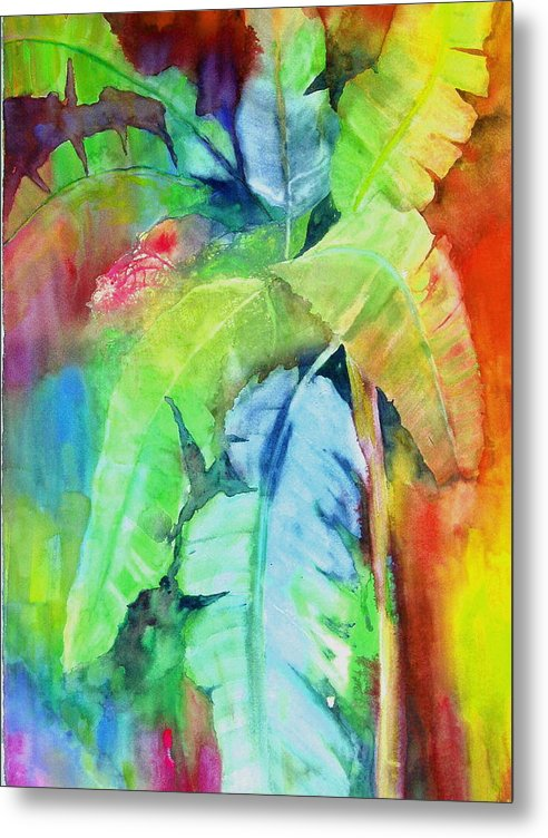 Tropical Tree Metal Print featuring the painting Banana Leaves by Maritza Bermudez