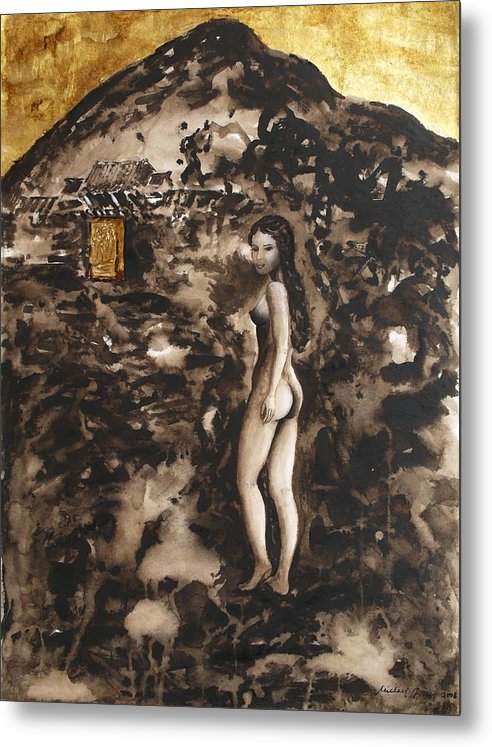 Nude Metal Print featuring the painting The Guardian by Michael Price
