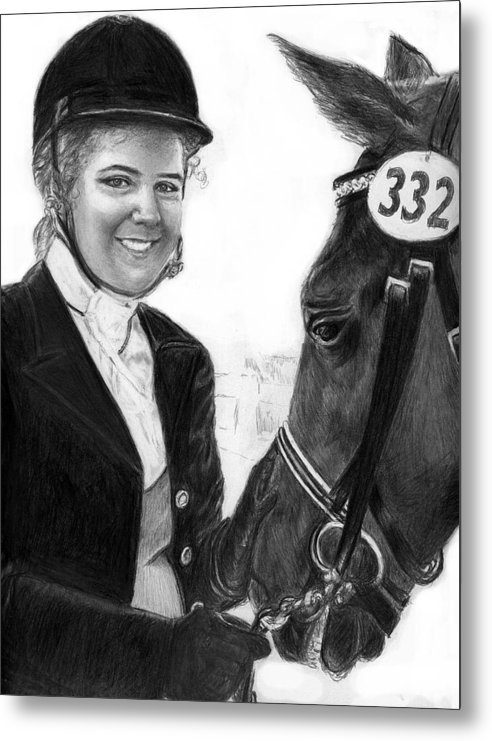 Horseequestrian Metal Print featuring the drawing Amira And Perias by Carliss Mora