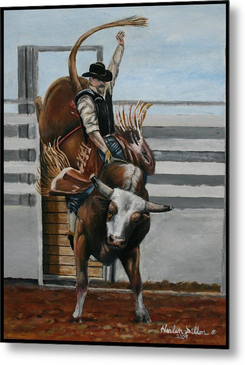 Rodeo Metal Print featuring the painting Bullrider by Harlan Dillon