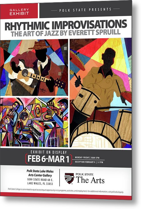 Everett Spruill Metal Print featuring the mixed media Rhythmic Improvisations - The Art of Jazz by Everett Spruill