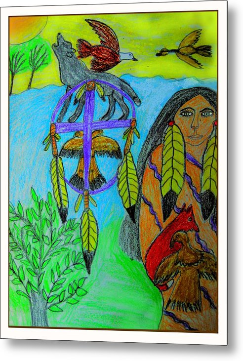 Dream Catchers Metal Print featuring the drawing Natural Dream Catcher by Betty J Roberts