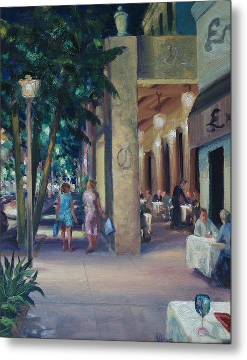 Cityscape Metal Print featuring the painting Night Shoppers by Michael Vires