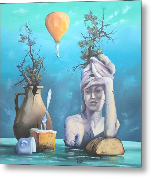 Metal Print featuring the painting Archaic Breakfast by Zoltan Ducsai