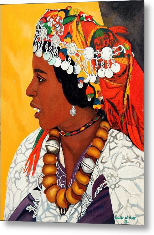 African American Art Metal Print featuring the painting African Beauty by Patrick Hunt