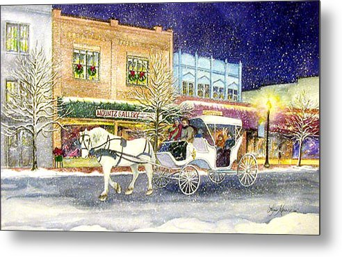 Horse;carriage;carriage Ride;winter;snow;holiday;christmas;lamplight; Metal Print featuring the painting Home For The Holidays by Lois Mountz