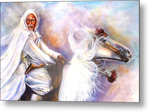 Portrait Metal Print featuring the painting Moroccan Man Riding Arabian Stallion by Patricia Rachidi