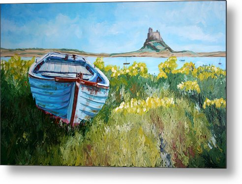 Seascape Metal Print featuring the painting Boat On Lindisfarne. by John Cox