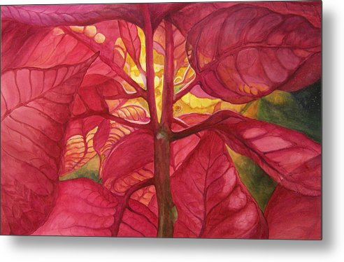 Floral;watercolor Floral;poinsettia;conceptual;poinsettias;christmas;holiday;flower;flowers;plant; Metal Print featuring the painting Into The Light by Lois Mountz