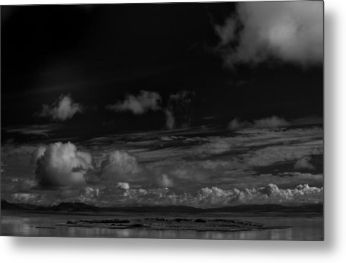 Black And White Metal Print featuring the photograph Negit Island Mono Lake by David Joseph Butler