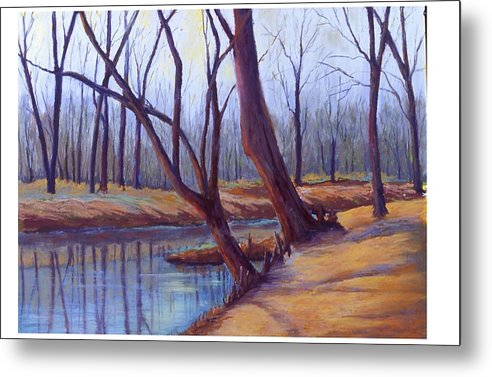 Landscape Metal Print featuring the painting Cypress Trees by MaryAnn Stafford