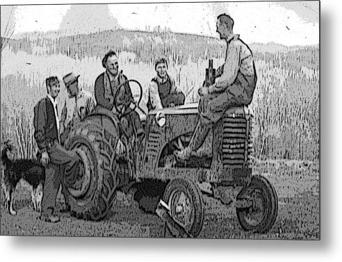 Tractor Metal Print featuring the digital art Social Gathering At The Tractor by Donald Burroughs