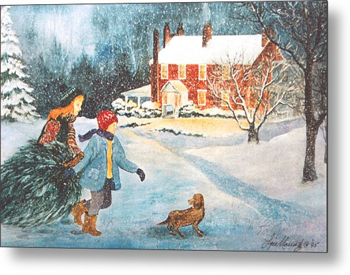 Winter;snow;christmas Tree;children;dog;brick House;farm House; Metal Print featuring the painting Bringing In The Tree by Lois Mountz