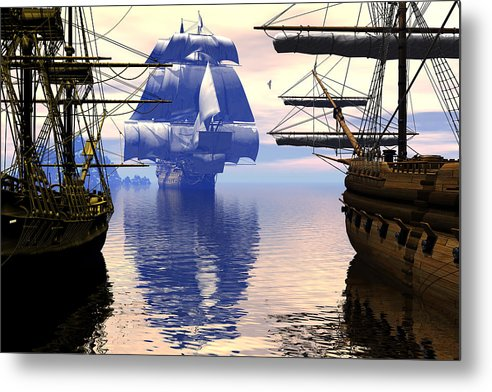 Bryce Metal Print featuring the digital art Arrival Of The Man-o-war by Claude McCoy