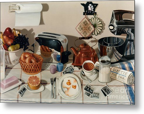 Still Life Metal Print featuring the painting Breakfast With The Beatles - Skewed Perspective Series by Larry Preston
