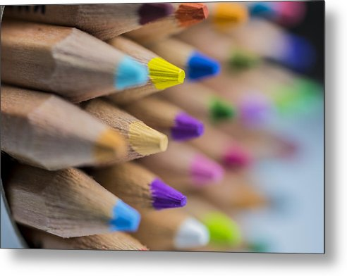 Art Metal Print featuring the photograph Pencils Colored Macro 5 by David Haskett II