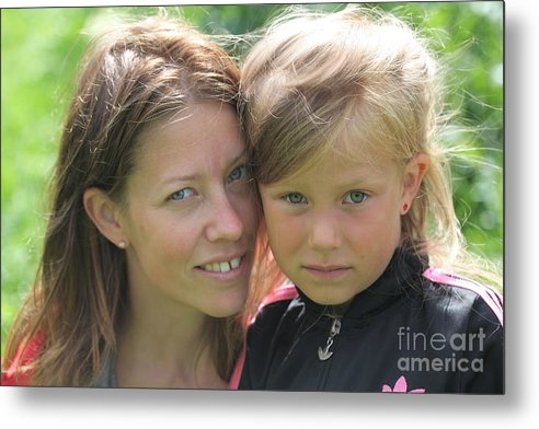 Portrait Photos Metal Print featuring the photograph With Mother - Sweden. by Andrzej Goszcz