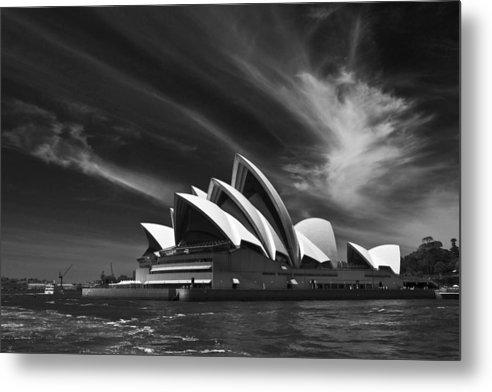 Sydney Opera House Monochrome Metal Print featuring the photograph Sydney Opera House by Sheila Smart Fine Art Photography