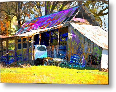 Metal Print featuring the digital art Barn And Truck by Danielle Stephenson