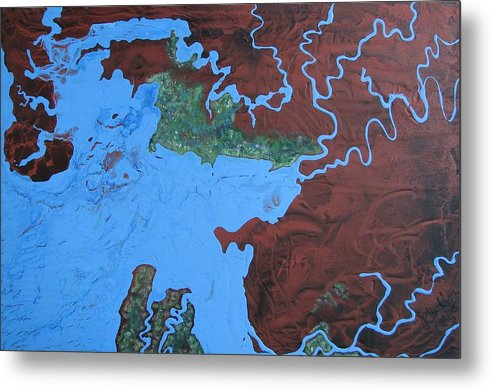 Map Metal Print featuring the painting Bauxite And Water by Joan Stratton