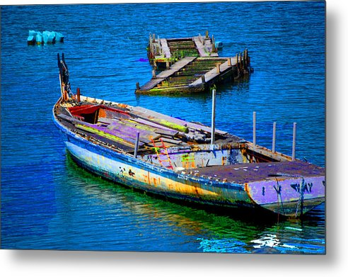 Metal Print featuring the digital art Docked Boat by Danielle Stephenson