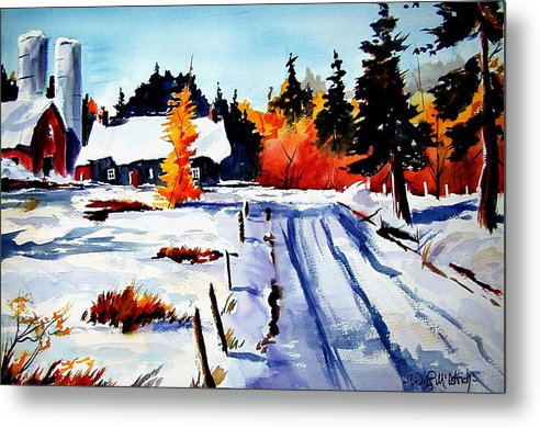 Landscape Metal Print featuring the painting First Snow And Last Of Fall by Wilfred McOstrich