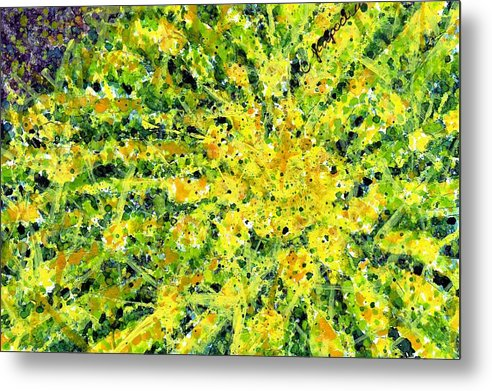 Nature Metal Print featuring the painting Golden Barrel Cactus by Cynthia Ann Swan
