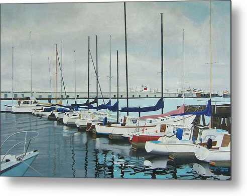Boats At Dock Metal Print featuring the painting Mozells Boats by Howard Stroman