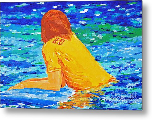 Beach Art Metal Print featuring the painting One With The Sea by Art Mantia
