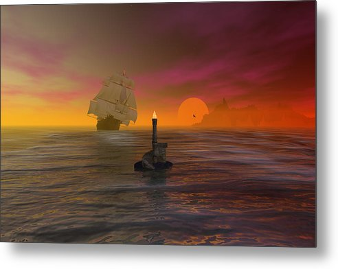 Bryce Metal Print featuring the digital art The Hazard Marker by Claude McCoy