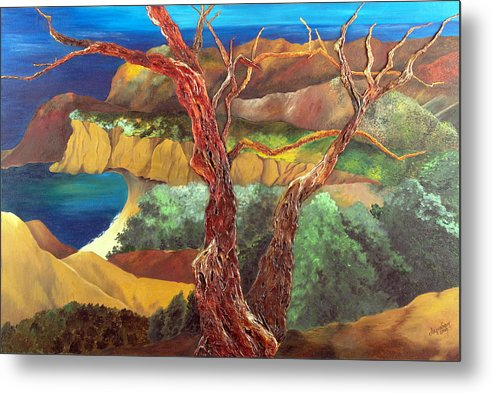 Landscape- Seascape Metal Print featuring the painting Anew by Helene Lagoudakis