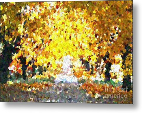 Abstract Metal Print featuring the painting Autumn Path by Don Phillips
