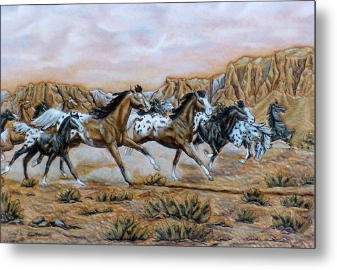 Horses Metal Print featuring the painting Being Free by Lilly King