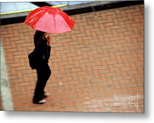 Rain Metal Print featuring the photograph Red 1 - Umbrellas Series 1 by Carlos Alvim