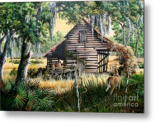 Florida Metal Print featuring the painting Old Floridaturpentine Barn-a Florida Memory by Daniel Butler