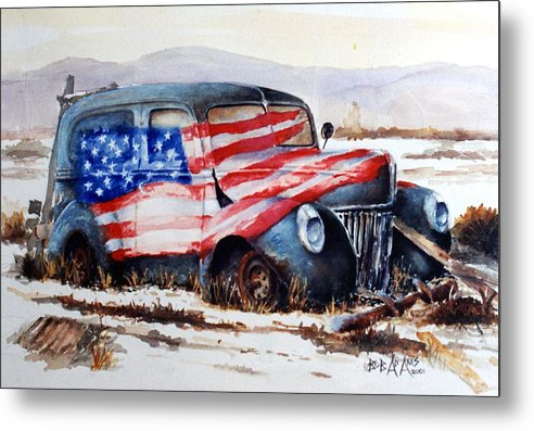 Old Truck Metal Print featuring the painting Old Glory by Bob Adams