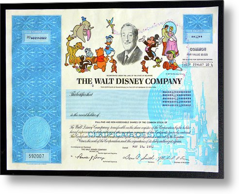 The Walt Disney Company stock cert by David Lee Thompson