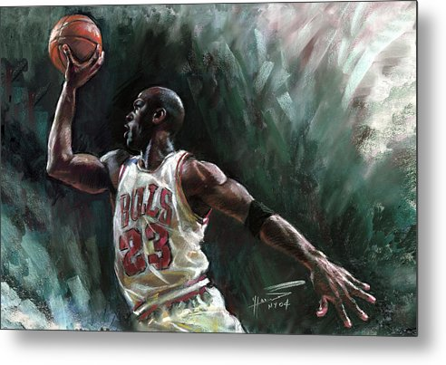 Michael Jordan Metal Print featuring the pastel Michael Jordan by Ylli Haruni