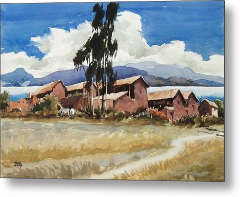 Bolivia Metal Print featuring the painting Quenuani by Oscar Cuadros