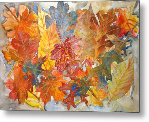 Collage Metal Print featuring the mixed media autumn Leaves Collage III by Joyce Kanyuk