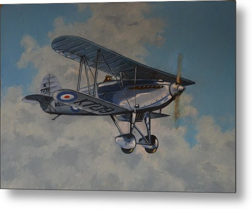 Airplanes Metal Print featuring the painting Fury II Raf by Murray McLeod