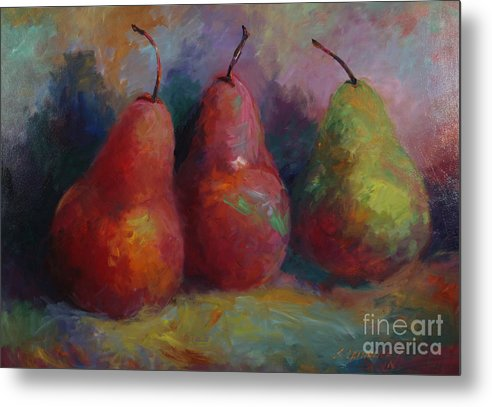 Pears Metal Print featuring the painting Colorful Pears by Sandra Leinonen Dunn