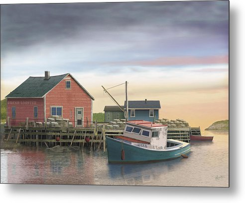 Lobster Fishing Cabin Metal Print featuring the digital art Bygonedays by Russell Cleversley