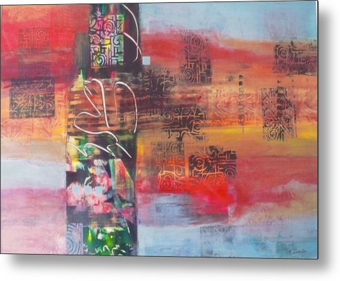 Abstracted Landscape Metal Print featuring the painting Secrate Strata by Miriam Pinkerton