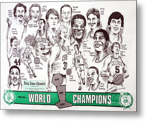 Nba Metal Print featuring the drawing 1986 Boston Celtics Championship Newspaper Poster by Dave Olsen